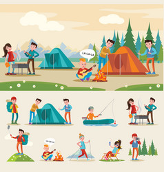 traveling camping composition vector image