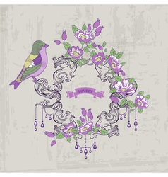 Vintage Card - with Retro Frame Flowers and Birds vector image vector image