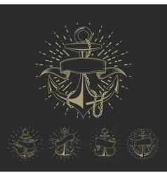 Anchor maritime sailor tattoo set or vintage vector