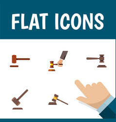 flat icon court set of legal crime tribunal and vector image vector image