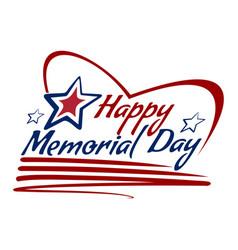 Happy memorial day lettering card design vector