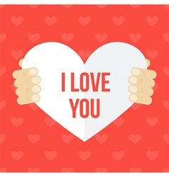 Valentines Day card in mans hands vector image vector image