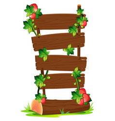 wooden boards and strawberries vector image vector image