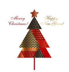 christmas tree in patchwork style vector image vector image
