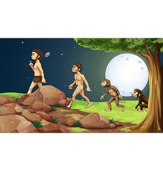 Evolution of man in the hilltop vector image