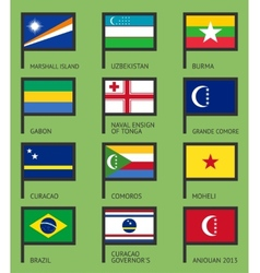 Flags flat set-11 vector image vector image