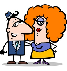 funny man and woman couple cartoon vector image vector image