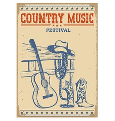Poster music festival background with guitar and vector image vector image