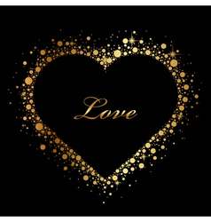black background with glowing heart vector image vector image