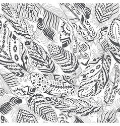 Feathers Boho Seamless Pattern vector image