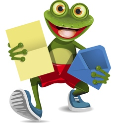 Frog with a letter vector image vector image