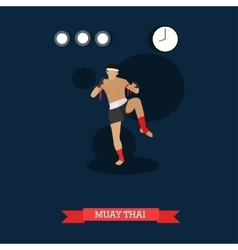 Muay Thai fighter kicking flat design vector image