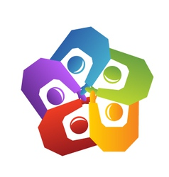Teamwork handle people logo vector image vector image