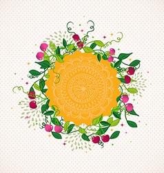 Vintage cherry plant wreath vector image