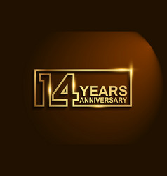 14 years anniversary golden design line style vector