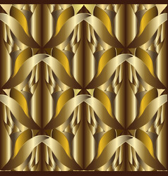 3d abstract textured gold seamless pattern vector image