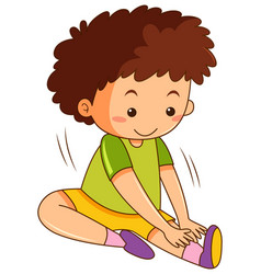 A boy stretching exercises vector