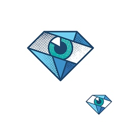 An eye as a diamond corporate identity symbol vector