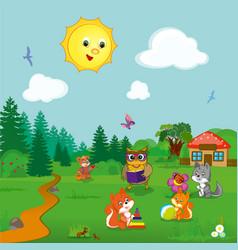 Animals at kindergarten vector