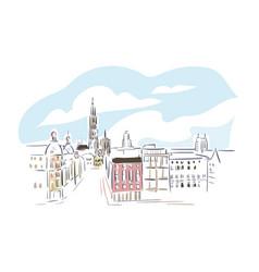 Antwerp belgium europe sketch city line art vector