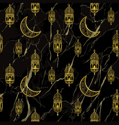 arabic golden lantern seamless pattern vector image