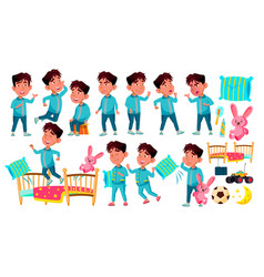 asian boy kindergarten kid poses set sleep vector image