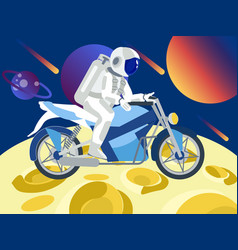 astronaut rides a motorcycle on moon in vector image