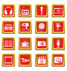 audio and video icons set red vector image