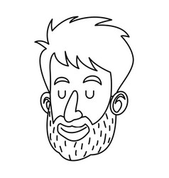 Avatar face man beard close eyes outline vector