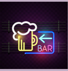 bar neon beer mug sign background image vector image