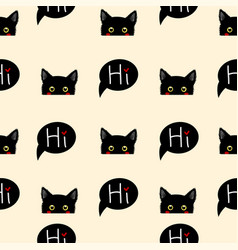 Black cat sneaking on beige ivory background vector