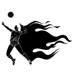 black silhouette volleyball sport girl and ball vector image