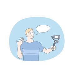 blogging sharing video content online vector image