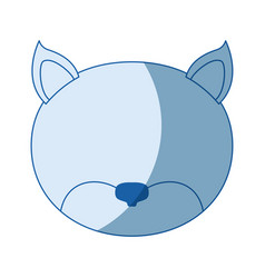 Blue color shading silhouette faceless of cat vector