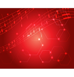bright red music background with gradient vector image