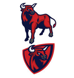 bull mascot set vector image