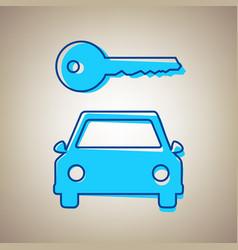 Car key simplistic sign sky blue icon vector