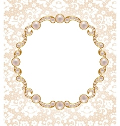 Card with pearl frame vector image