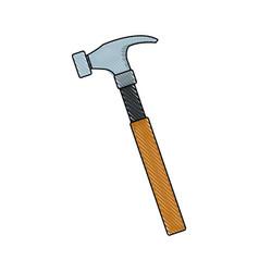carpenter hammer tool construction element vector image