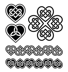 Celtic heart knot - symbols set vector image
