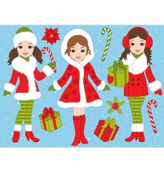Christmas Girls Set vector image