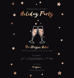 Christmas party invitation black and gold foil vector