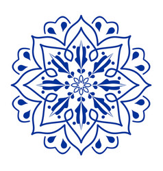 Circle flower blue ceramics design symmetric vector
