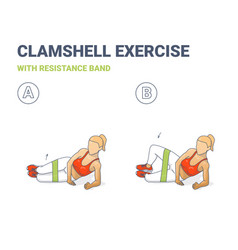 Clamshell with resistance band sport exersice vector