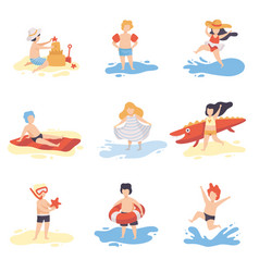 Collection of cute kids in bathing suits playing vector