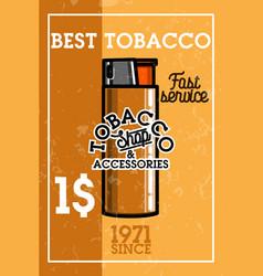 color vintage tobacco shop banner vector image