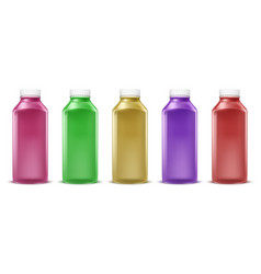 colorful bottles for juice paint liquid vector image