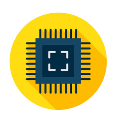 computer chip flat circle icon vector image