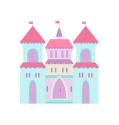 Cute castle fairytale medieval fortress colorful vector