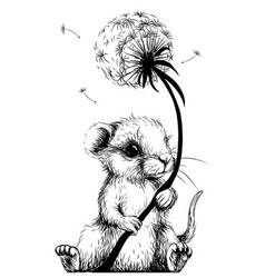 cute little mouse is holding a dandelion flower vector image
